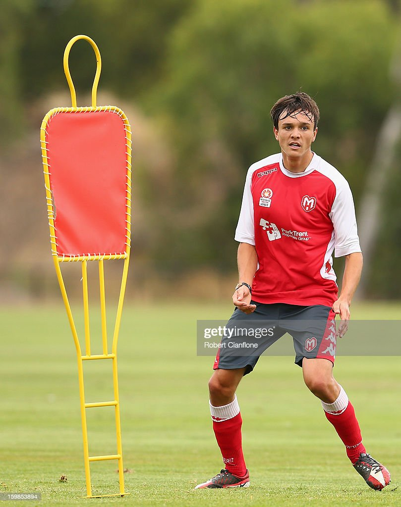 Sam Mitchinson of the Heart waits for the ball during a Melbourne Heart A-League training session at La Trobe University Sports Fields on January 22, 2013 in Melbourne, Australia.