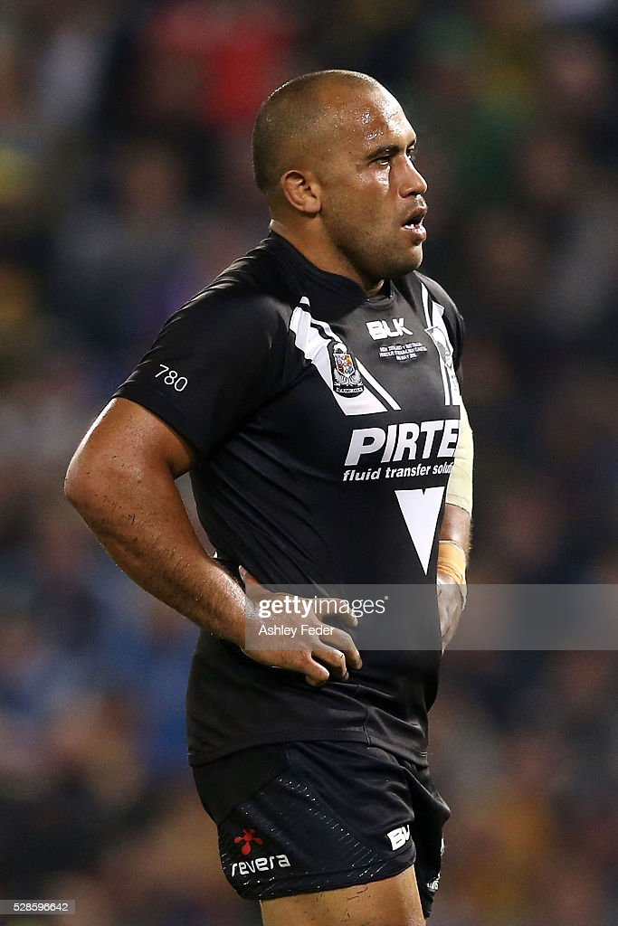 Sam Moa of the Kiwis looks dejected during the International Rugby League Trans Tasman Test match between the Australian Kangaroos and the New Zealand Kiwis at Hunter Stadium on May 6, 2016 in Newcastle, Australia.