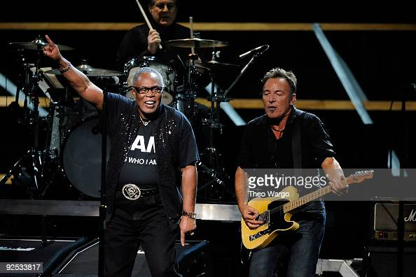 Sam Moore and Bruce Springsteen perform onstage at the 25th Anniversary Rock Roll Hall of Fame Concert at Madison Square Garden on October 29 2009 in...