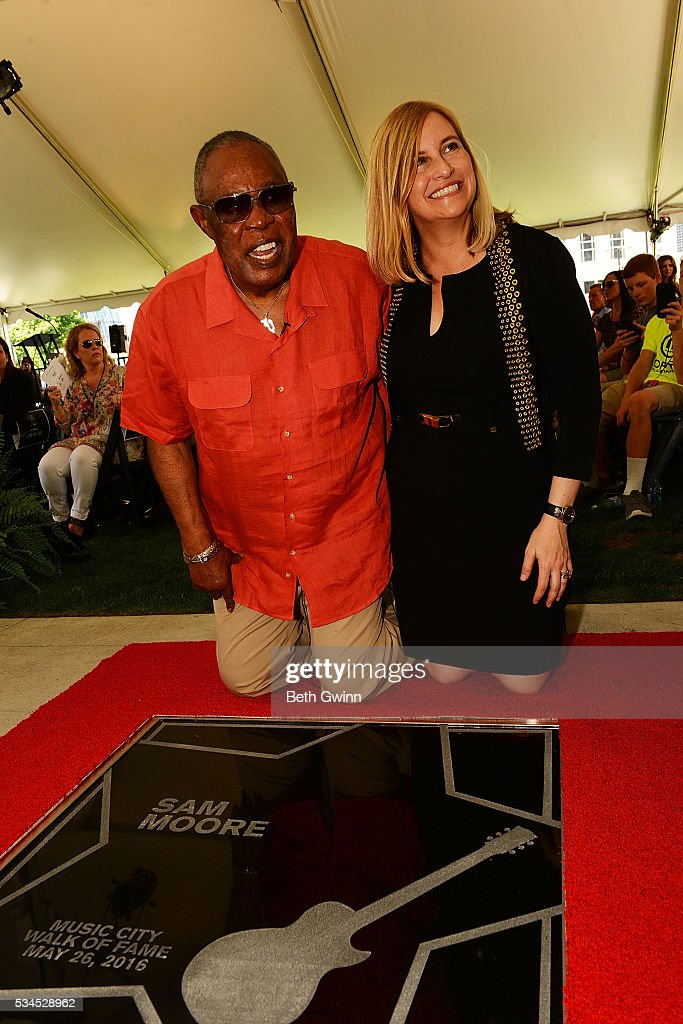 <a gi-track='captionPersonalityLinkClicked' href=/galleries/search?phrase=Sam+Moore&family=editorial&specificpeople=828179 ng-click='$event.stopPropagation()'>Sam Moore</a> and Megan Barry attend the induction of <a gi-track='captionPersonalityLinkClicked' href=/galleries/search?phrase=Sam+Moore&family=editorial&specificpeople=828179 ng-click='$event.stopPropagation()'>Sam Moore</a> into the Walk of Fame Park on May 26, 2016 in Nashville, Tennessee.
