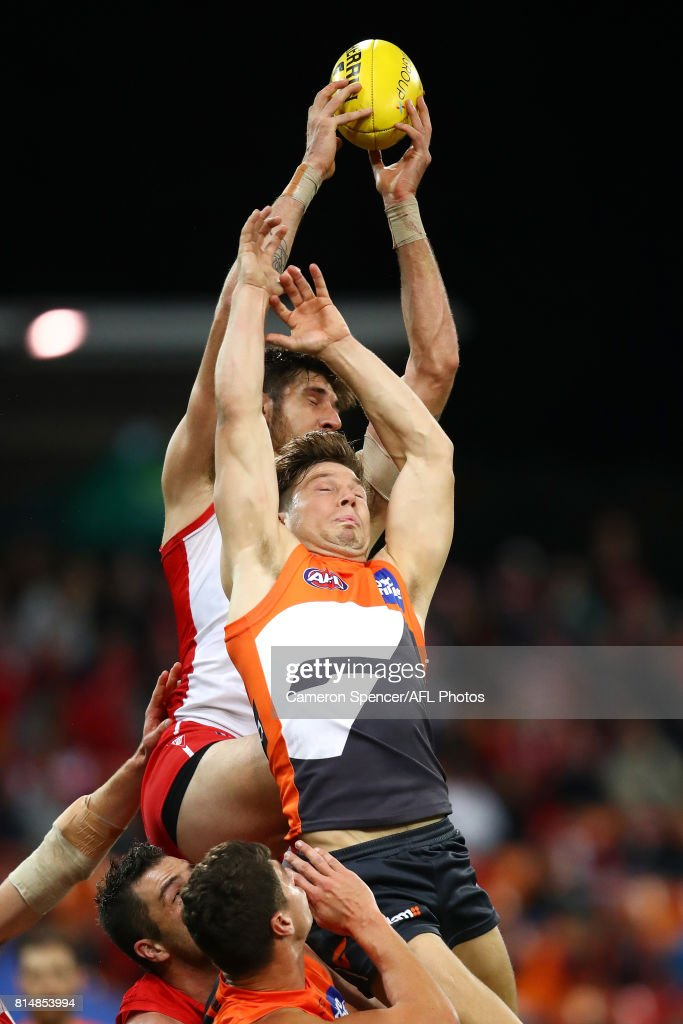 Sam Naismith of the Swans marks over Toby Greene of the Giants during the round 17 AFL match between the Greater Western Sydney Giants and the Sydney Swans at Spotless Stadium on July 15, 2017 in Sydney, Australia.