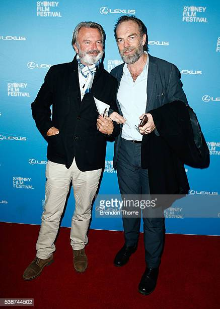 Sam Neill and Hugo Weaving arrive ahead of the Sydney Film Festival Opening Night Gala at State Theatre on June 8 2016 in Sydney Australia