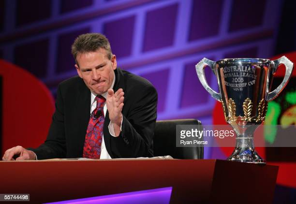 Sam Newman cohost of the Footy Show speaks during the Channel Nine AFL Grand Final Footy Show at Rod Laver Arena September 22 2005 in Melbourne...