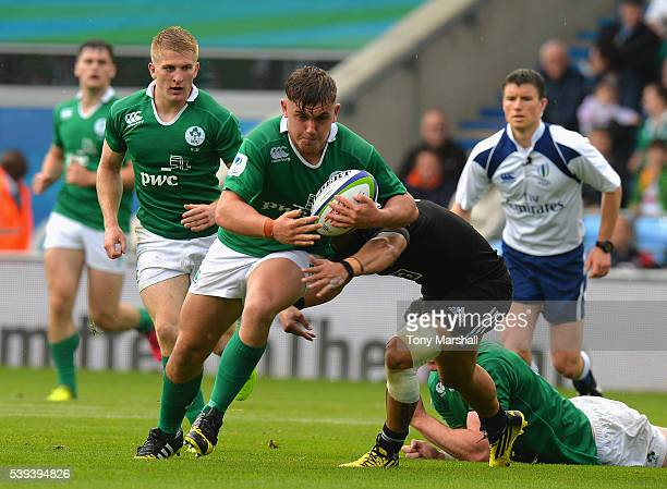 Sam Noc of New Zealand tackles Adam McBurney of Ireland during the World Rugby U20 Championship match between New Zealand and Ireland at The Academy...