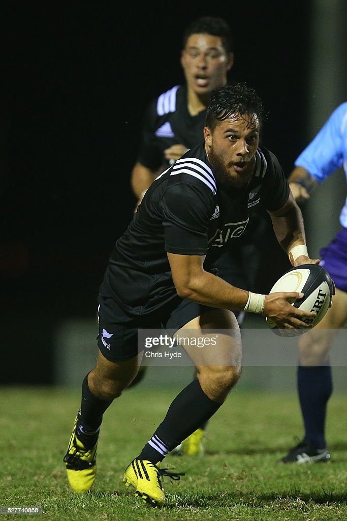 Sam Nock of New Zealand runs the ball during the Under 20s Oceania Rugby match between Australia and New Zealand at Bond University on May 3, 2016 in Gold Coast, Australia.