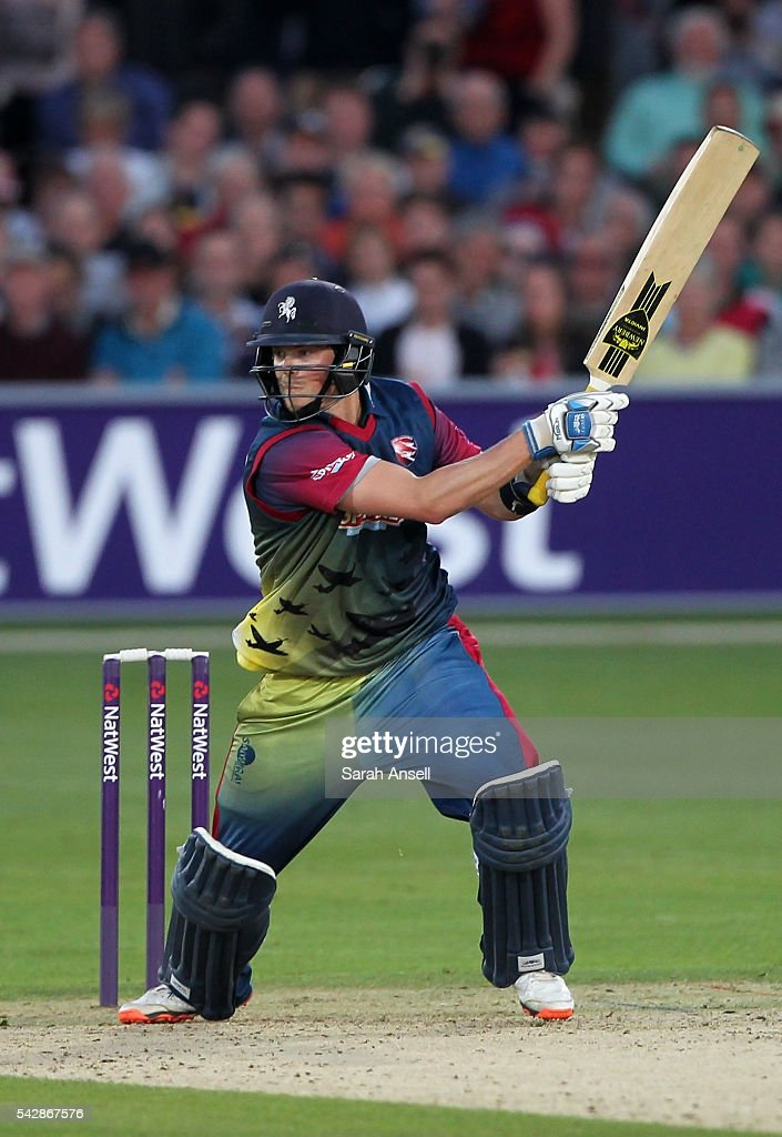 Sam Northeast of Kent hits a boundary during the Natwest T20 Blast match between Kent and Middlesex at The Spitfire Ground on June 24, 2016 in Canterbury, England.