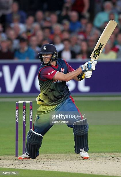 Sam Northeast of Kent hits a boundary during the Natwest T20 Blast match between Kent and Middlesex at The Spitfire Ground on June 24 2016 in...