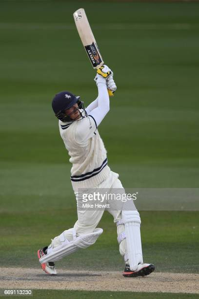 Sam Northeast of Kent hits a six off the bowling of David Wiese during his century on day three of the Specsavers County Championship Division Two...