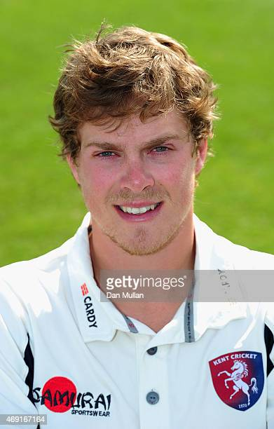 Sam Northeast of Kent poses during the Kent CCC Photocall on April 10 2015 in Canterbury England