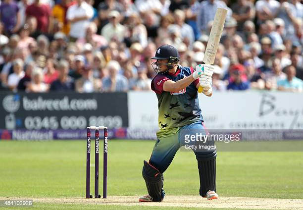 Sam Northeast of Kent scores runs during the NatWest T20 Blast quarter final match between Kent Spitfires and Lancashire Lightning at The Spitfire...