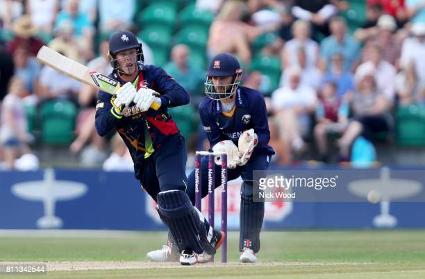 Sam Northeast of Kent scoring quickly during the Kent Spitfires v Essex Eagles NatWest T20 Blast cricket match at the County Ground on July 09 2017...