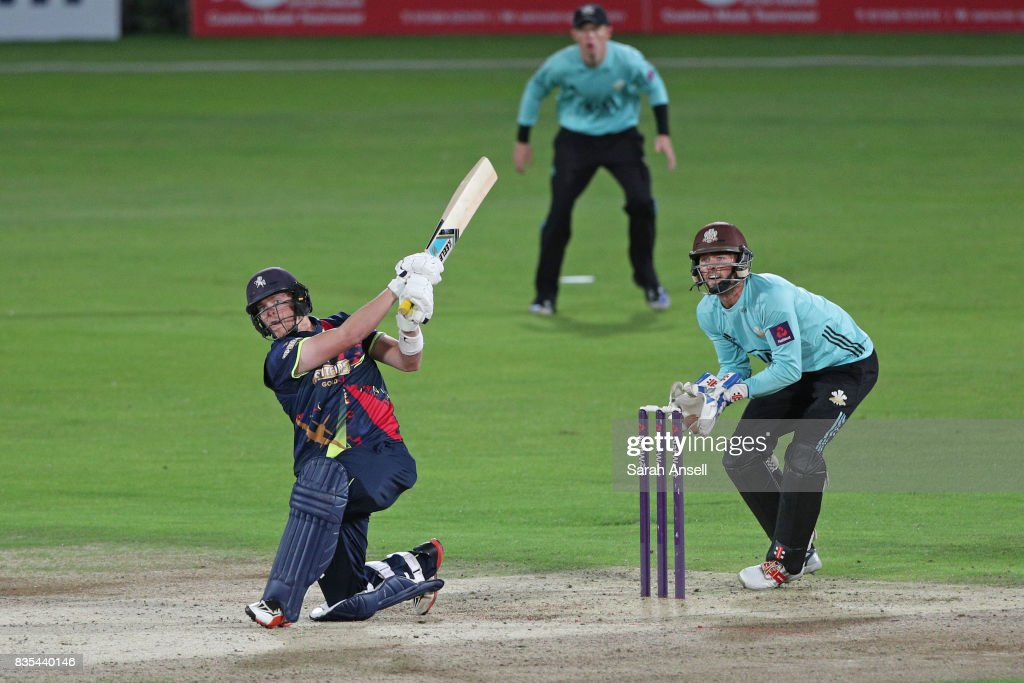 Sam Northeast of Kent Spitfires hits as as Surrey wicket keeper Ben Foakes looks on during the NatWest T20 Blast South Group match between Kent Spitfires and Surrey at The Spitfire Ground on August 18, 2017 in Canterbury, England. (Photo by Sarah Ansell/Getty Images).