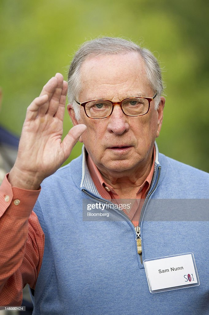 <a gi-track='captionPersonalityLinkClicked' href=/galleries/search?phrase=Sam+Nunn&family=editorial&specificpeople=209203 ng-click='$event.stopPropagation()'>Sam Nunn</a>, co-chairman and chief executive officer of the Nuclear Threat Initiative, arrives for the morning session at the Allen & Co. Media and Technology Conference in Sun Valley, Idaho, U.S., on Saturday, July 14, 2012. Some of the media industry's largest buyouts have been hatched or moved forward at Sun Valley, including Comcast Corp's 2011 purchase of NBC Universal. Photographer: David Paul Morris/Bloomberg via Getty Images
