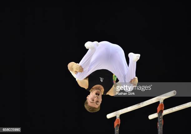 Sam Oldham competes in the parallel bars during the British Gymnastics Championships at the Echo Arena on March 26 2017 in Liverpool England