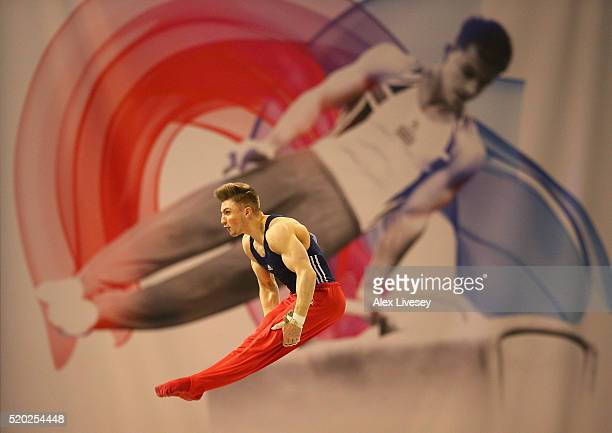 Sam Oldham of Great Britain competes in the High Bar during the British Gymnastics Championships at the Echo Arena on April 10 2016 in Liverpool...