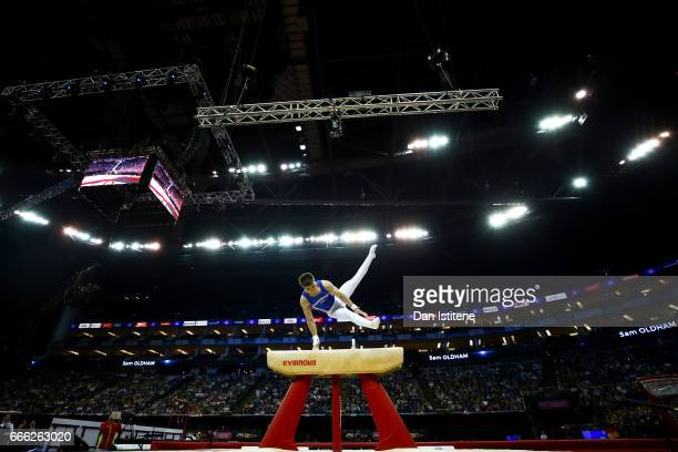 Sam Oldham of Great Britain competes on the pommel horse during the men's competition for the iPro Sport World Cup of Gymnastics at The O2 Arena on...
