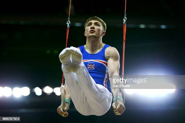 Sam Oldham of Great Britain competes on the rings during the men's competition for the iPro Sport World Cup of Gymnastics at The O2 Arena on April 8...
