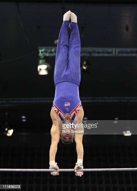 Sam Oldham of Great Britain performs on the High Bar during the European Championships Artistic Gymnastics Men's Qualification at MaxSchmeling Hall...