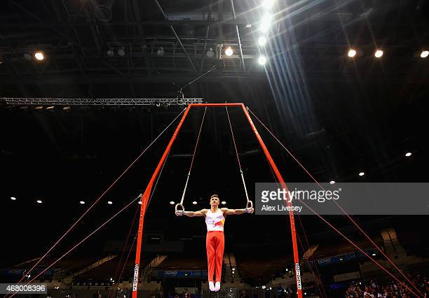 Sam Oldham of Loughborough competes on the rings during the Men's Artistic Masters on day three of the Mens Womens Artistic British Championships...