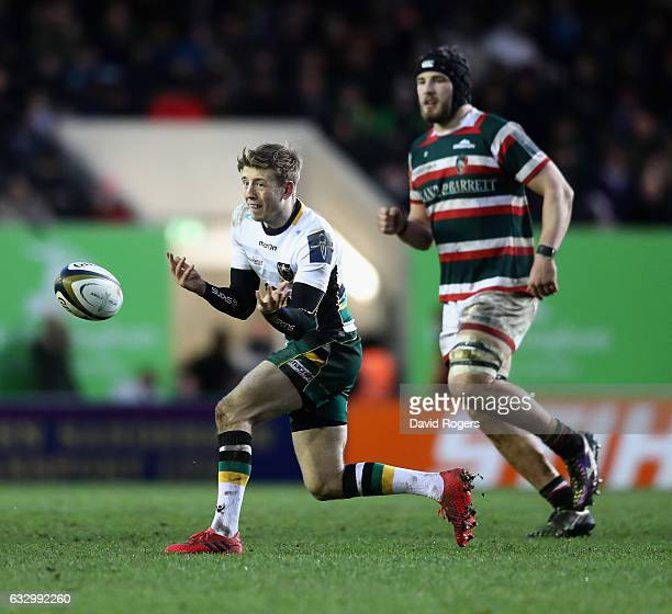 Sam Olver of Northampton passes the ball during the AngloWelsh Cup match between Leicester Tigers and Northampton Saints at Welford Road Stadium on...