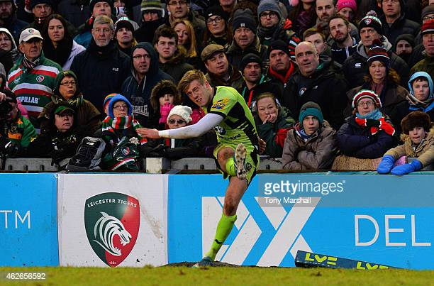 Sam Olver of Northampton Saints kicking a conversion during the LV= Cup match between Leicester Tigers and Northampton Saints at Welford Road on...