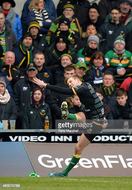 Sam Olver of Northampton Saints kicking a conversion during the LV= Cup match between Northampton Saints and Wasps at Franklin's Gardens on February...