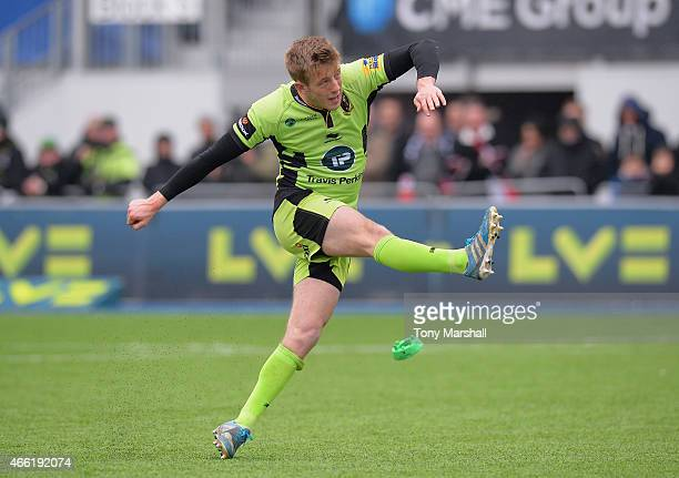 Sam Olver of Northampton Saints kicks a conversion of his own try during the LV= Cup Semi Final match between Saracens and Northampton Saints at...