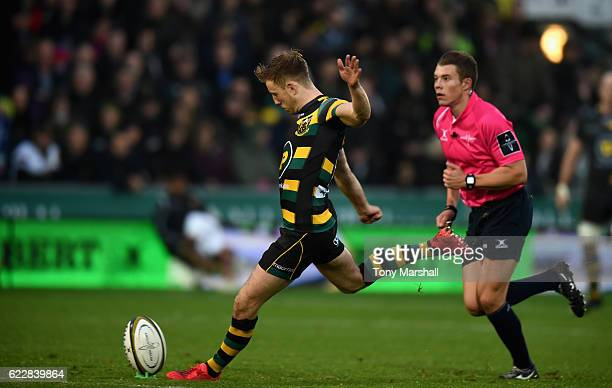 Sam Olver of Northampton Saints kicks a penalty during the AngloWelsh Cup match between Northampton Saints and Gloucester Rugby at Franklin's Gardens...