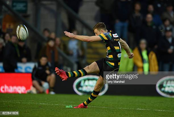 Sam Olver of Northampton Saints makes a conversion kick during the AngloWelsh Cup match between Northampton Saints and Gloucester Rugby at Franklin's...