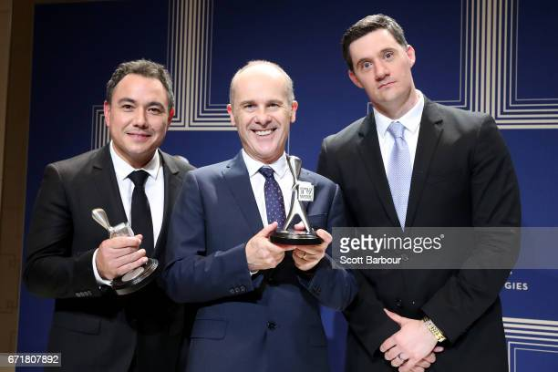 Sam Pang Tom Gleisner and Ed Kavalee pose with the Logie Award for Most Outstanding Entertainment Program 'Have You Been Paying Attention' during the...