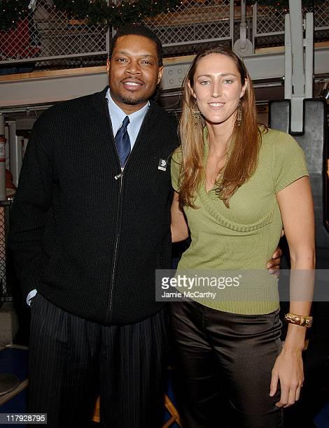 Sam Perkins NBA Legend and Ruth Riley of the WNBA Champions Detroit Shock