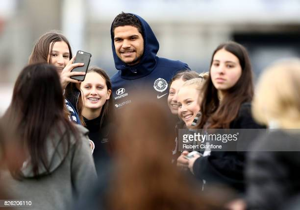 Sam PetrevskiSeton of the Blues greets fans after a Carlton Blues AFL training session at Visy Park on August 4 2017 in Melbourne Australia