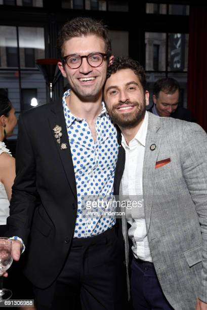Sam Pinkelton and Brandon Uranowitz attend Designed To Celebrate A Toast To The 2017 Tony Awards Creative Arts Nominees at The Lamb's Club at the...