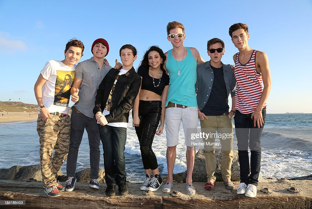 Sam Pottorff, Jc Caylen, Trevor Moran, Katia Nicole, Ricky Dillon, Connor Franta, and Kian Lawley on location during Trevor Moran's music video shoot for the song 'Someone' on October 11, 2013 in Playa del Rey, California.
