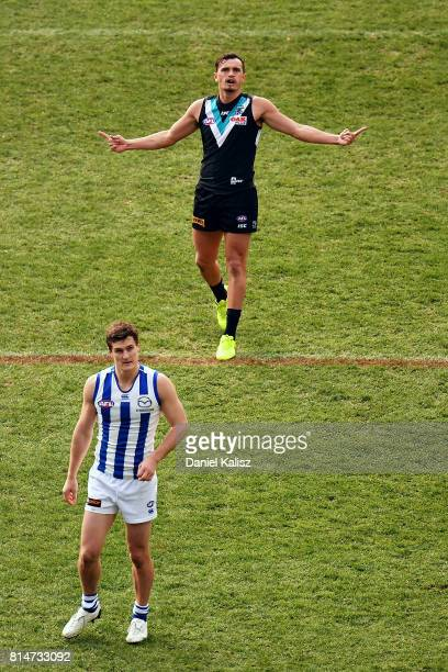Sam PowellPepper of the Power celebrates after kicking a goal during the round 17 AFL match between the Port Adelaide Power and the North Melbourne...