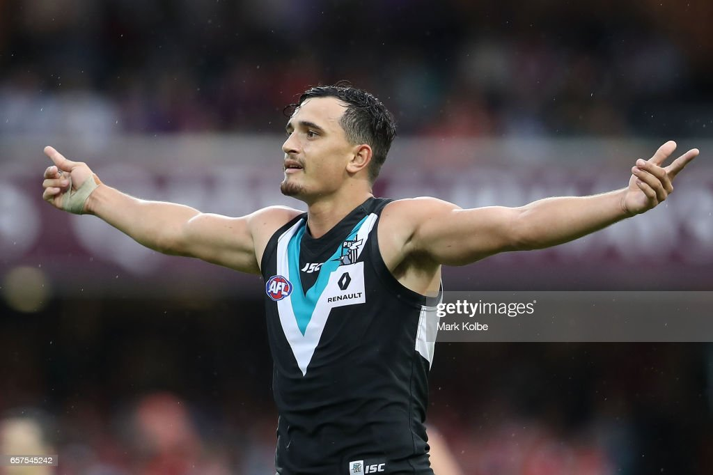 Sam Powell-Pepper of the Power celebrates kicking a goal during the round one AFL match between the Sydney Swans and the Port Adelaide Power at Sydney Cricket Ground on March 25, 2017 in Sydney, Australia.