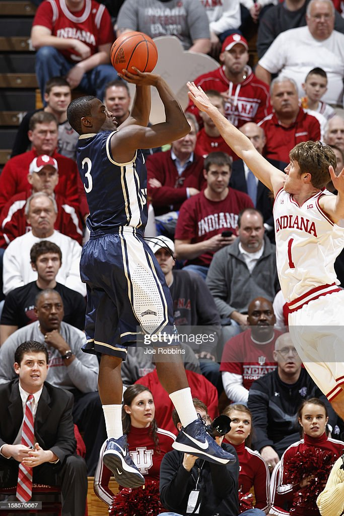 Sam Prescott #3 of the Mount St. Mary's Mountaineers shoots the ball against Jordan Hulls #1 of the Indiana Hoosiers during the game at Assembly Hall on December 19, 2012 in Bloomington, Indiana. The Hoosiers won 93-54.