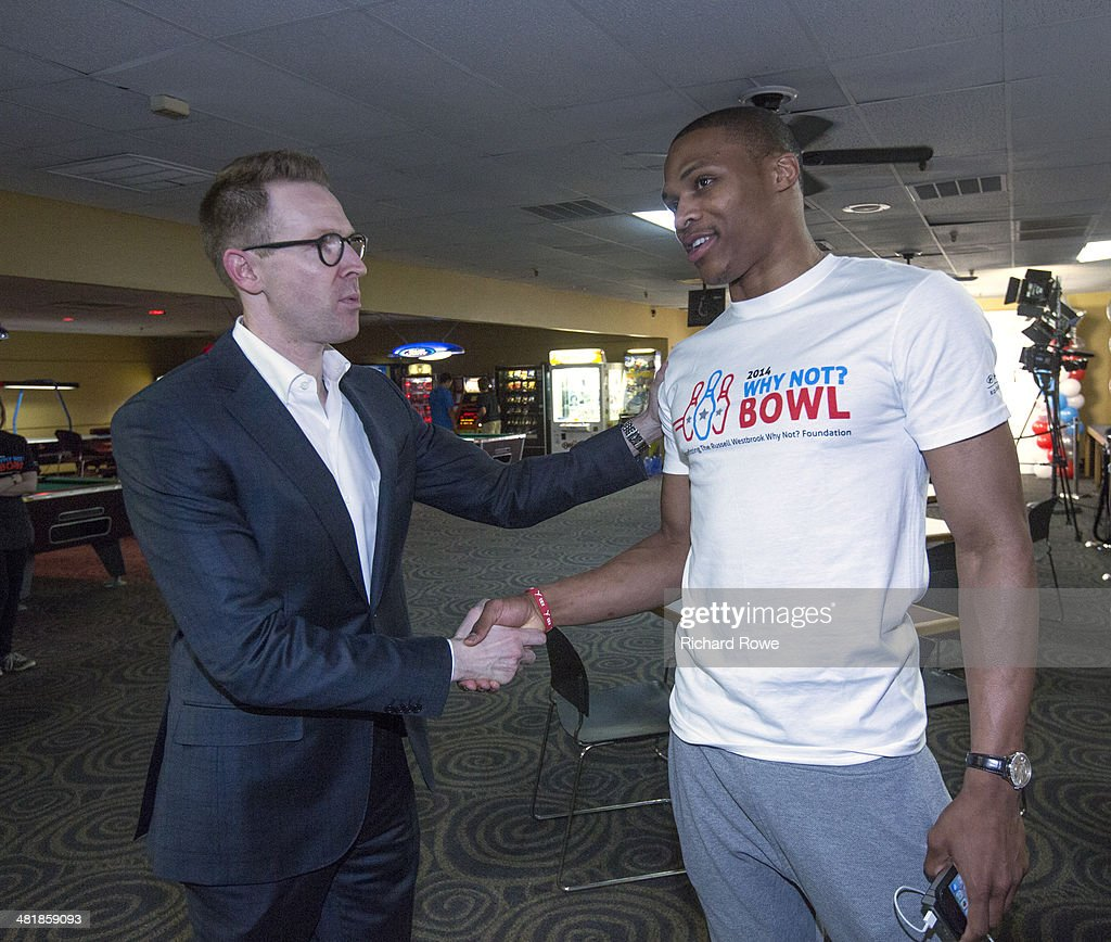 Sam Presti general manager joins Russell Westbrook #0 of the Oklahoma City Thunder at his annual Why Not Foundation fundraiser to benefit the Boys and Girls Club at AMC Boulevard Bowl in Edmond, Oklahoma.