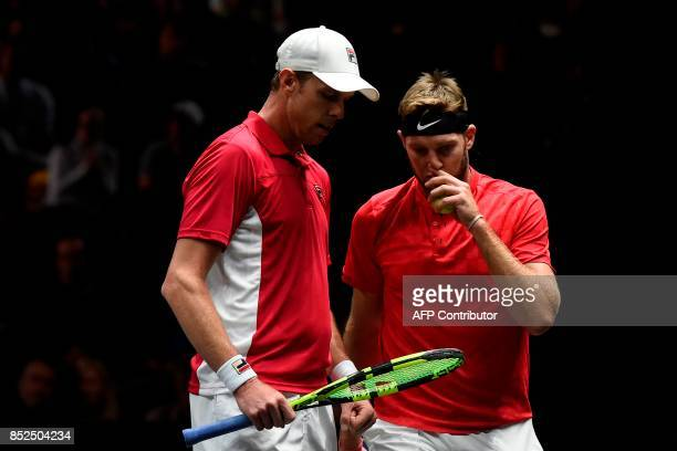 Sam Querrey and Jack Sock both of Team World compete during their match against Swiss Roger Federer and Spanish Rafael Nadal both of Team Europe...