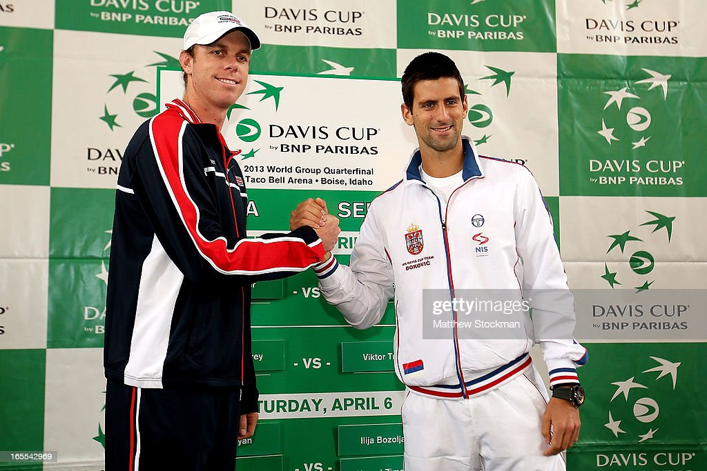 Sam Querrey and Novak Djokovic of Serbia pose during the draw ceremony at the Boise Depot on April 4, 2013 in Boise, Idaho.
