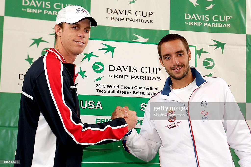 Sam Querrey and Viktor Troicki of Serbia pose during the draw ceremony at the Boise Depot on April 4, 2013 in Boise, Idaho.
