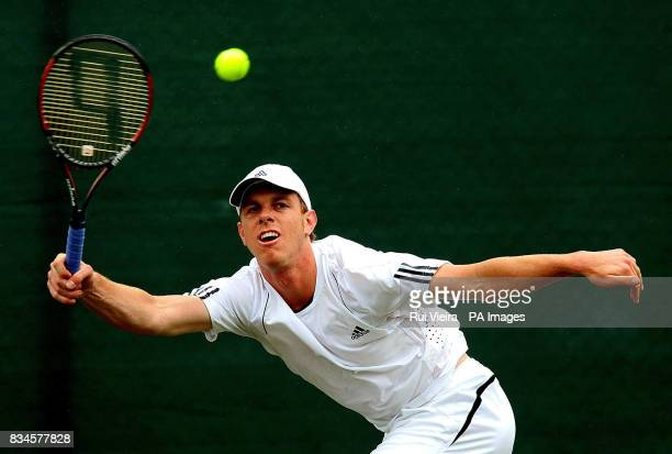 Sam Querrey during his single match against Ivo Karlovic during the Slazenger Open 2008 at the City of Nottingham Tennis Centre Nottingham