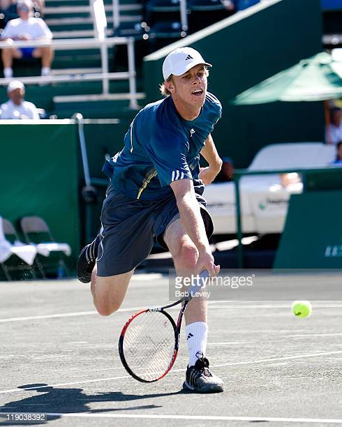 Sam Querrey hits a return during match action Tommy Haas d Sam Querrey 36 63 75 in first round action at the US Mens Clay Court Championships at...
