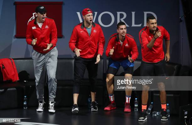 Sam Querrey Jack Sock Thanasi Kokkinakis and Nick Kyrgio of Team World reacts as Dominic Thiem of Team Europe plays his singles match against John...