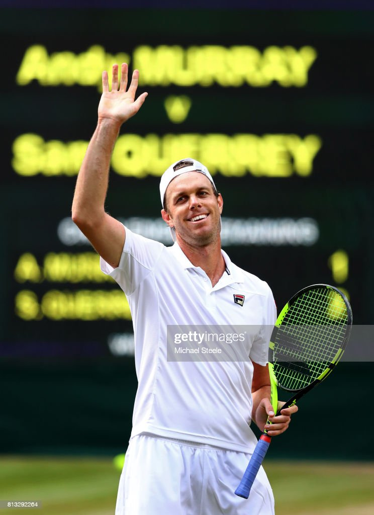 Sam Querrey of The United States acknowledges the crowd as he celebrates victory after the Gentlemen's Singles quarter final match against Andy Murray of Great Britain on day nine of the Wimbledon Lawn Tennis Championships at the All England Lawn Tennis and Croquet Club on July 12, 2017 in London, England.