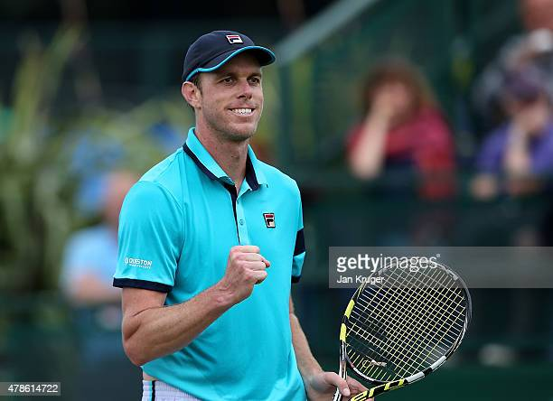 Sam Querrey of the United States celebrates match point against Alexandr Dolgopolov of Ukraine during their semi final match on day six of the Aegon...