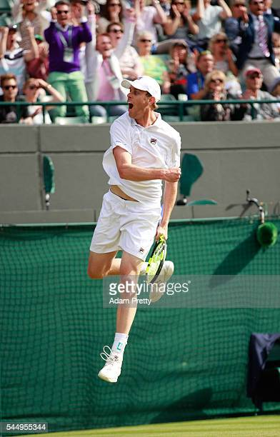 Sam Querrey of The United States celebrates victory during the Men's Singles third round match against Novak Djokovic of Serbia on day six of the...