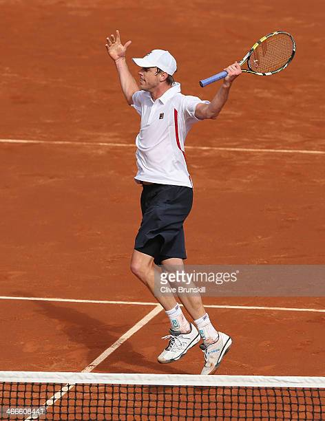Sam Querrey of the United States celebrates winning the second set tie break against Andy Murray of Great Britain during day three of the Davis Cup...