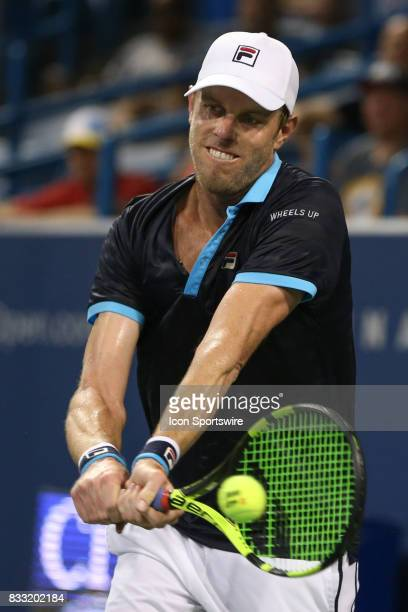 Sam Querrey of the United States hits a backhand during the Western Southern Open at the Lindner Family Tennis Center in Mason Ohio on August 16th...