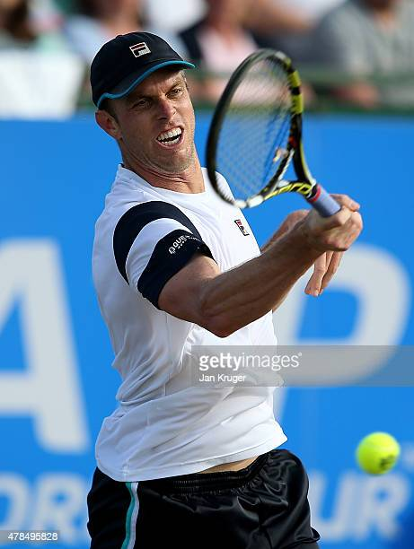 Sam Querrey of the United States in action against Gilles Simon of France during their quarter final match on day five of the Aegon Open Nottingham...